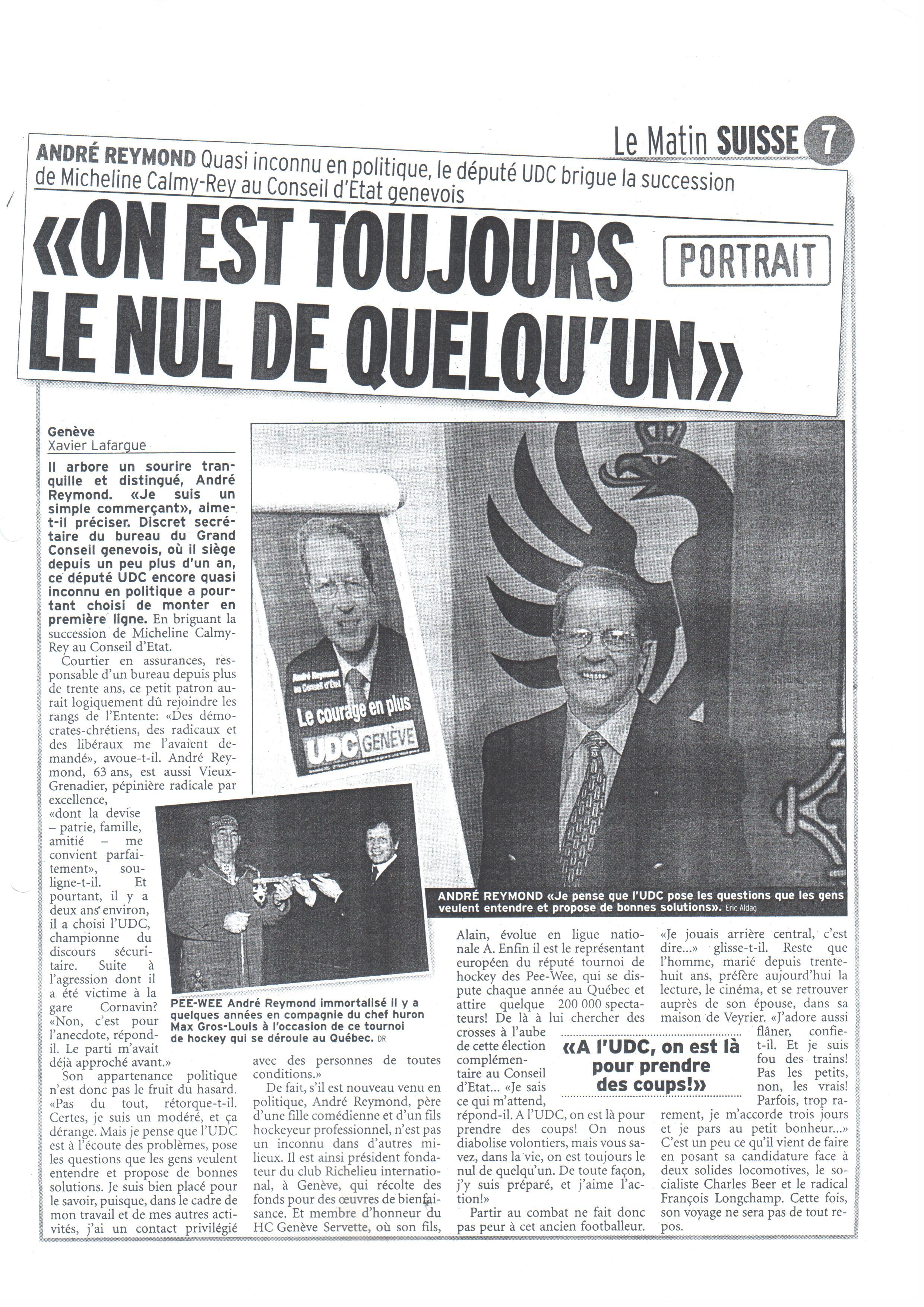 Candidat au Conseil d'Etat (Le Matin)
